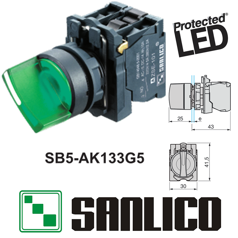 waterproof illuminated selector switch rotary switch knob switch two or three position SB5(XB5 LA68S)-AK133G5 with integral LED