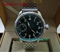 Sapphire crystal 44mm PARNIS Black dial Asian 6497 Gooseneck Mechanical Hand Wind movement blue Luminous men's watch sdgd05