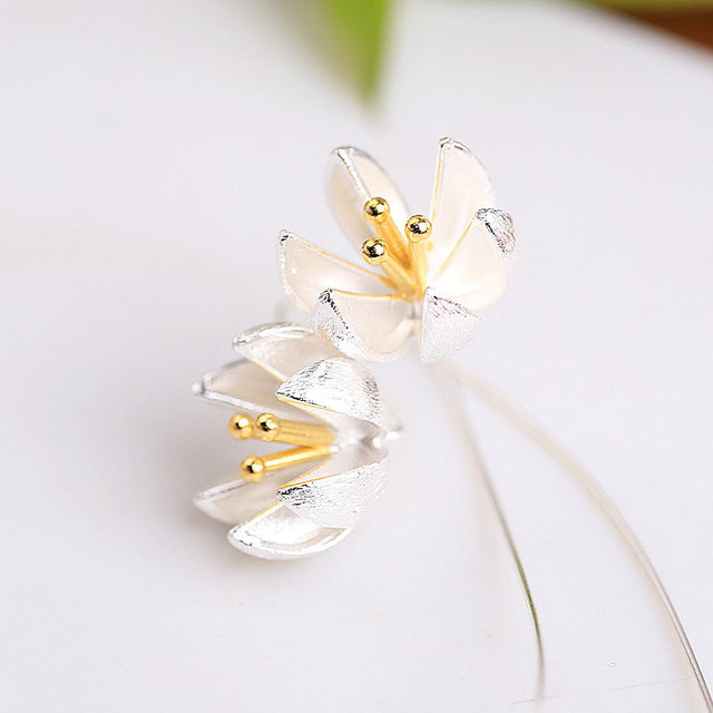 famous brand 925 Sterling Silver Long Flower Earrings for Women New Design Lovely Girls Christmas Gift Statement Jewelry