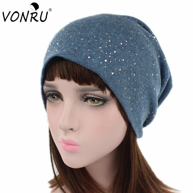 Mode New Trendy Femmes Beanie de Chapeau Automne Hiver Diamant Tricot Cap  Laine Chaude Bonnets Skullies 194c33e5a87
