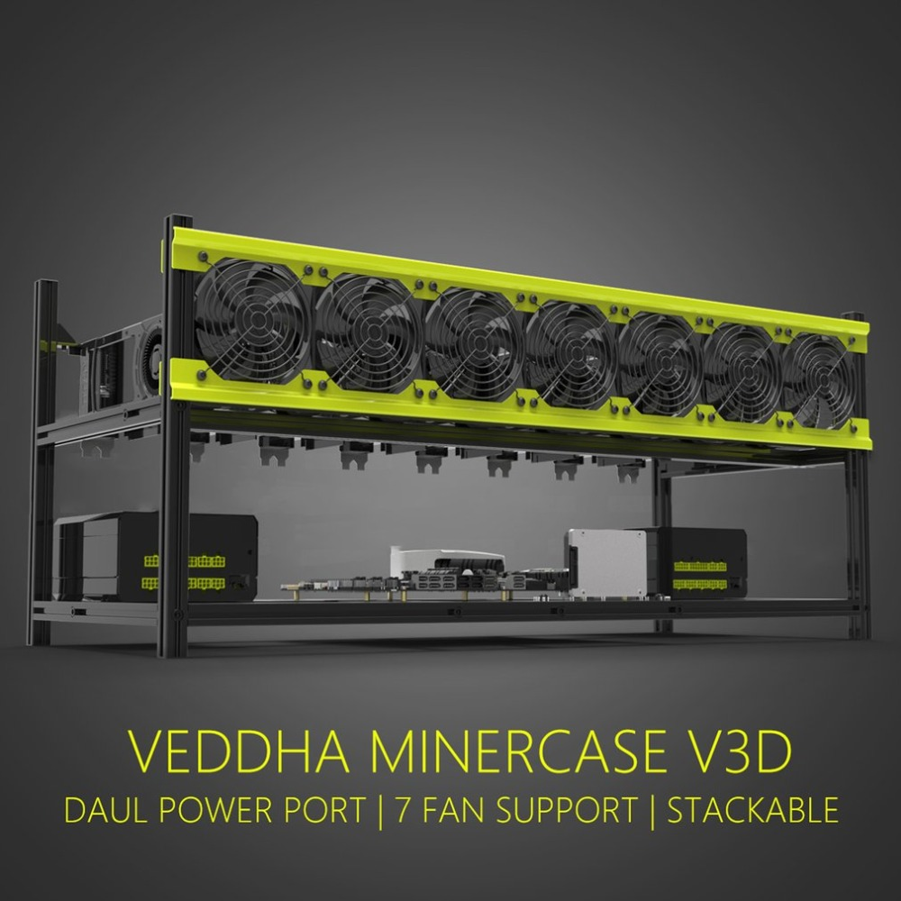 Practical Veddha V3D8 GPU Mining Rig Aluminum Alloy Stackable Graphics Case Up To 8 GPU Open Air Frame Rack Bracket