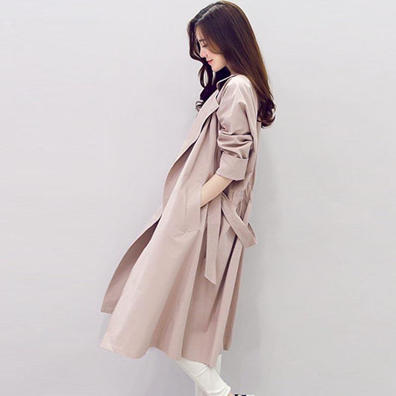 Trench   coat female 2019 spring autumn long slim women's windbreaker coat Korean version light color women   trench   coat