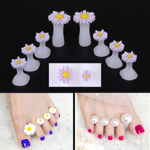 8PCS Diamond Sun Flower Decoration Soft Silicone Toe Separator Protector Bunion Adjuster Finger Divider Form Manicure(China)