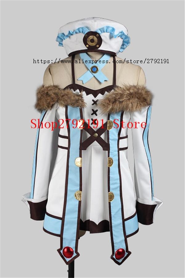 Anime Hyperdimension Neptunia Blanc Cos coat+skirt+hat Cosplay Costume+Free Shipping  A