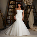 2017 In Stock Sexy Sweetheart Mermaid Wedding Dresses Tulle Court Train Lace Up Bridal Gowns Trumpet Pleat Robe De Mariage 2017