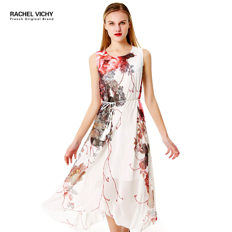 Women Sleeveless Chiffon Dress Peacock Feather Print Floral Sash Clothing Casual Loose S ...