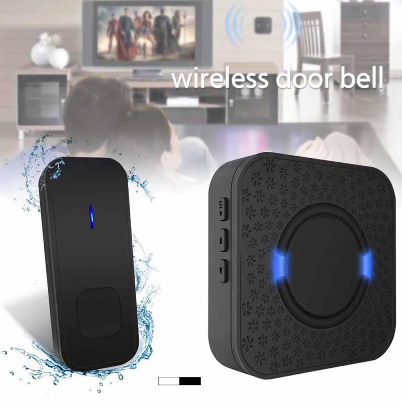 EU US Plug Door Bell Black White RF 433MHz Wireless Doorbell Kit Door Chime Transmitter Receiver 55 Melodies for Home Office