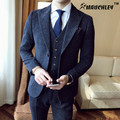 MAUCHLEY 3 Peças/set Homens Ternos Para a Moda Vestido Formal Dos Homens Terno botas de Neve Retro Pouco De Tecido Homem Cavalheiro Terno de Dois Botões