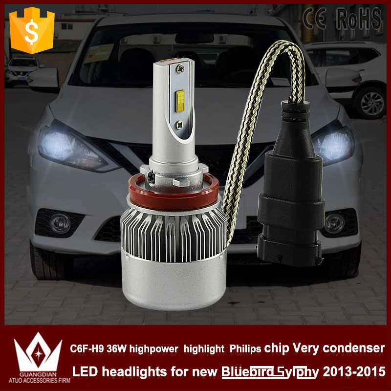 Night Lord C6F H8/H9/H11 LED Headlight with mute fan HIGH Beam FOR Nissan New Bluebird Sylphy 2013-2015 accessories