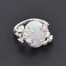 Elegant Womens Silver Solitaire Ring White Fire Opal Bridal Wedding Bands Plum Blossom