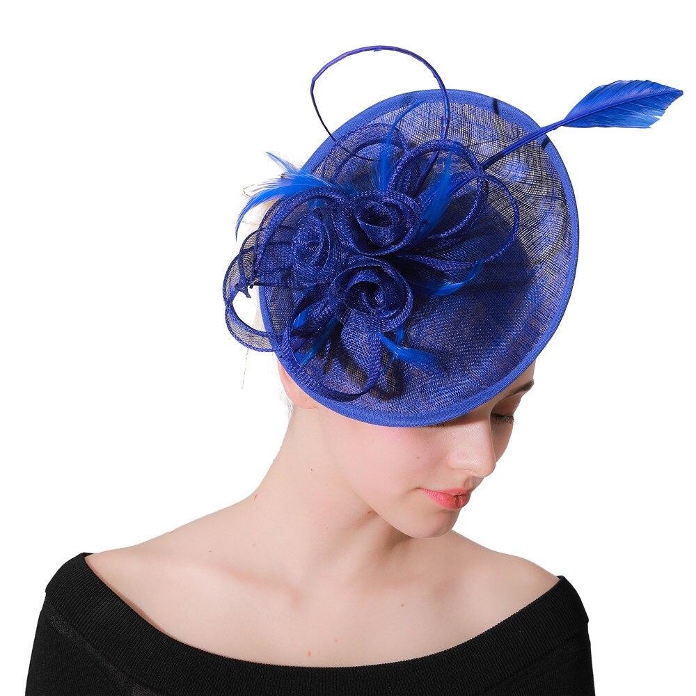 Royal Blue Fascinator Hats Wedding Headwear Women Elegant Hair Clips Derby Show Event Hair Accessories Ladies Headpiece Clips