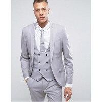 Latest Coat Pant Designs Grey Shawl Lapel Double Breasted Men Suit Formal Skinny Wedding Custom