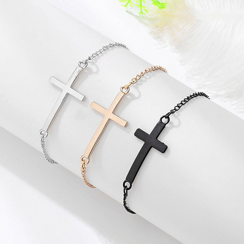 Cross Gold Hand Chain Link Male Mens Silver Charms Adjustable Bracelet Homme Men Jewelry Holy Knight Metal Bracelets for Women