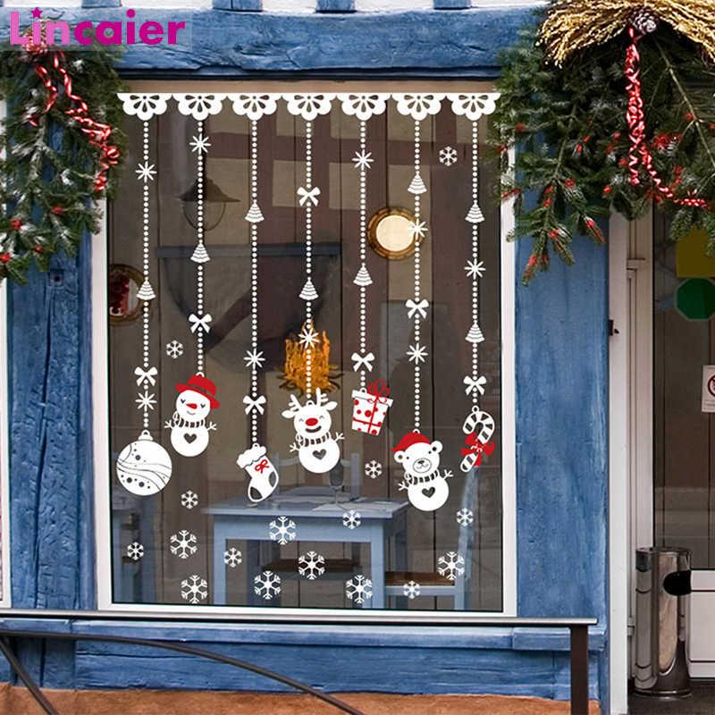 2019 feliz adhesivo de ventana navideño decoración de Navidad para el hogar  adornos de árbol Navidad Santa Claus muñeco de nieve Feliz Año Nuevo 2020