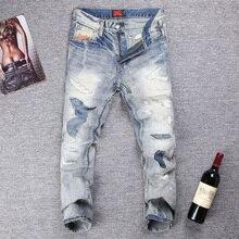 цены на Japanese Style Fashion Men Jeans Destroy Ripped Jeans For Men Slim Fit Cotton Denim Pants hombre Streetwear Hip Hop Jeans homme  в интернет-магазинах