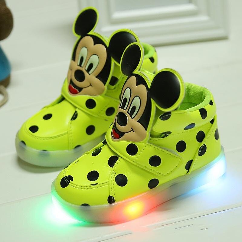 2018 del Nuovo divertente modo di disegno LED illuminato bambini scarpe casual di alta qualità delle ragazze dei ragazzi scarpe stivali Dell'unità di elaborazione dots capretti del bambino scarpe da ginnastica