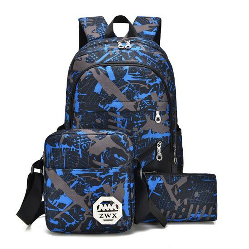 Canvas Backpack Women Printing School Bag for Teenagers Boys Preppy Style Composite Bags Set Travel High Quality Male Backpack purple flowers printed dream teenagers backpack fresh preppy adorable sthdents school bags fashion travel hiking computer bag