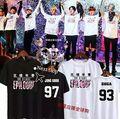 Kpop 2016 novo BTS Bangtan Meninos clube padrão tempo Jovem para sempre com o dinheiro que da dos homens e das mulheres de manga curta T-shirt
