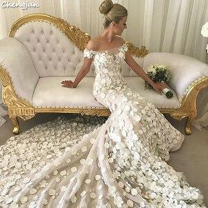 Image 5 - Chengjun Marfim Flor Muito Bonita Da Sereia Fora Do Ombro Do Vestido de Casamento de Luxo