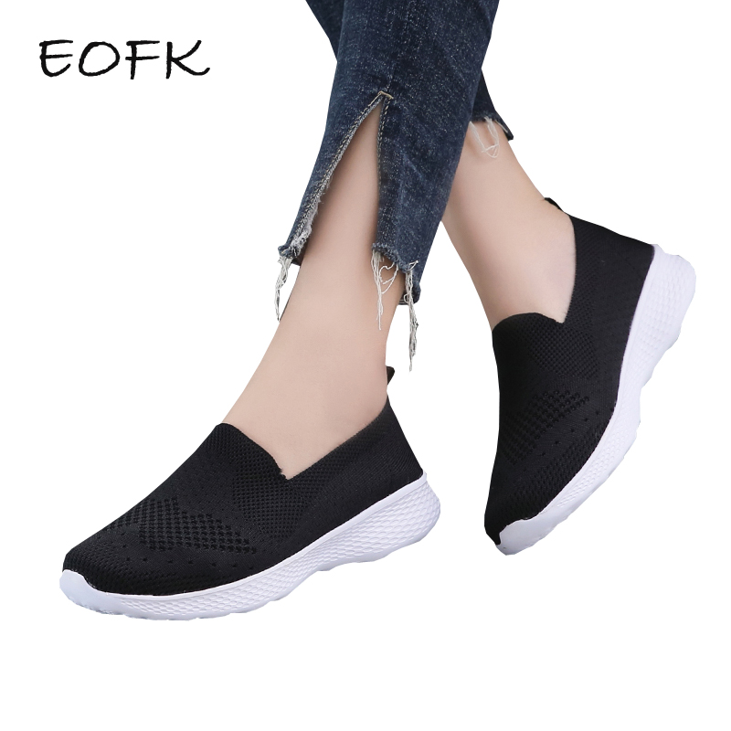 EOFK Women Sneakers Flat Shoes Woman Casual Fly Knit Soft Lightweight Shoes Slip On Loafers Womens Flats zapatos mujerEOFK Women Sneakers Flat Shoes Woman Casual Fly Knit Soft Lightweight Shoes Slip On Loafers Womens Flats zapatos mujer