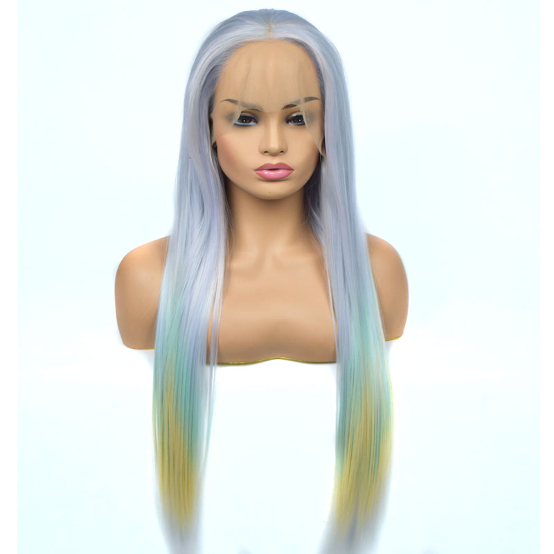 Bombshell New Style Straight Synthetic Lace Front Wig Mix Light Blue Green Yellow Three Color Heat