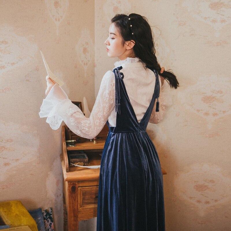 Velours Femmes Longues À Chemisier Automne Manches Pièces Deux Printemps Robe Nouvelle Blanc Et Robes Mode 2018 Chemise Vintage OqwfaO