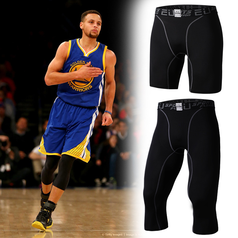 Mens sport calf length pants basketball compression tights athletic gym bottoms running tracksuit elastic jogging pants