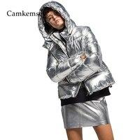CamKemsey Warm Thicken Winter Coat Women Streetwear Metallic Silver Down Cotton Padded Hooded Winter Jacket Women Parkas
