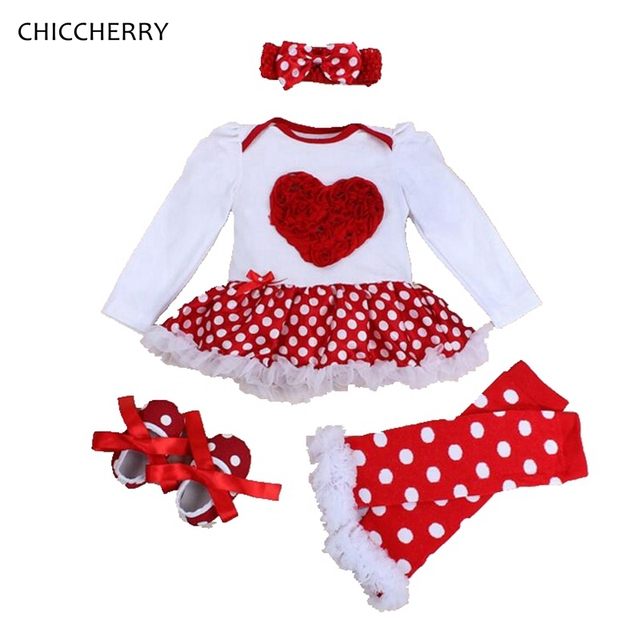 168650e9e5b Red Heart Baby Valentine Dress Set Rose Lace Romper Infant Lace Tutu  Headband   Legwarmers Polka Dots Newborn Baby Girl Clothes