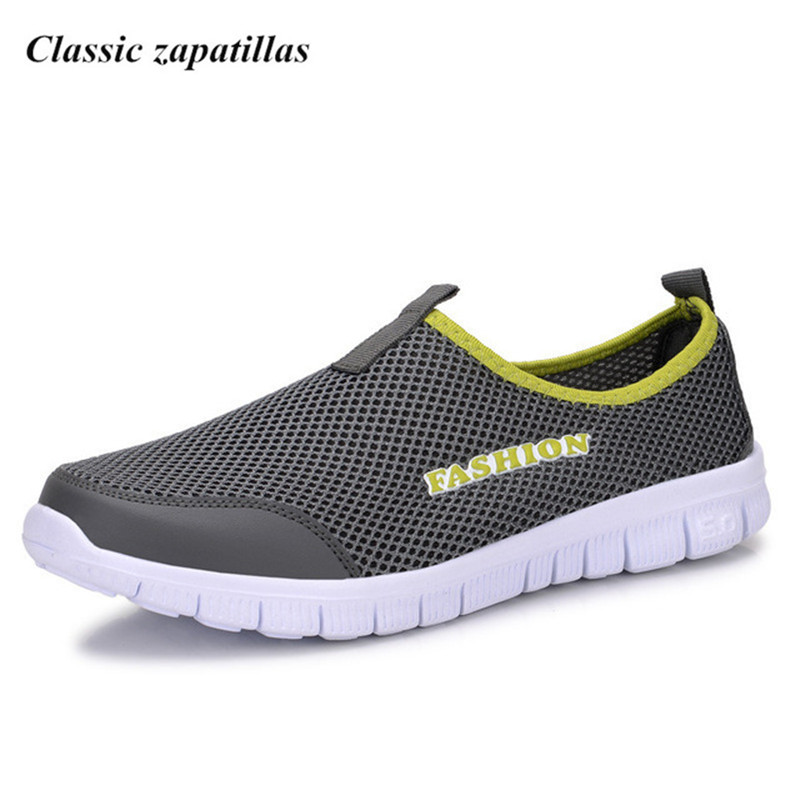 Classic zapatillas Fashion Men Shoes Loafers Summer Comfortable Men Casual Shoes Mesh Breathable Flats Plus Size 38-46 2017 new spring imported leather men s shoes white eather shoes breathable sneaker fashion men casual shoes