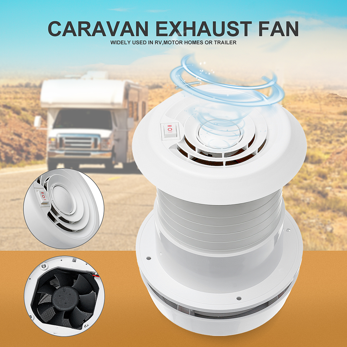 Fan-Noiseless Motorhome Roof-Vent Travel-Motor Ventilation-Cooling-Exhaust Homes-Trailer