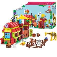 цены на Big Size Diy Happy Farm Happy Zoo With Animals Set Compatible With Legoingly Duploe Blocks Bricks Toys For Children Birthday Kid  в интернет-магазинах
