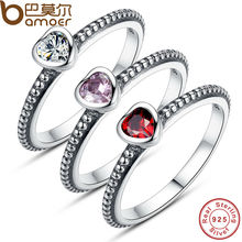 3 Colors Authentic 100% 925 Sterling Silver Ring Love Heart Ring Original Wedding Jewelry PA7105
