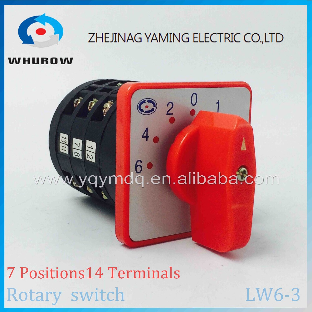 Rotary switch 7 positions LW6-3 changeover cam switch 380V 10A 3 poles sliver point contacts one position control two terminal load circuit breaker switch ac ui 660v ith 100a on off 3 poles 3 phases 3no 2 position universal rotary cam changeover switch