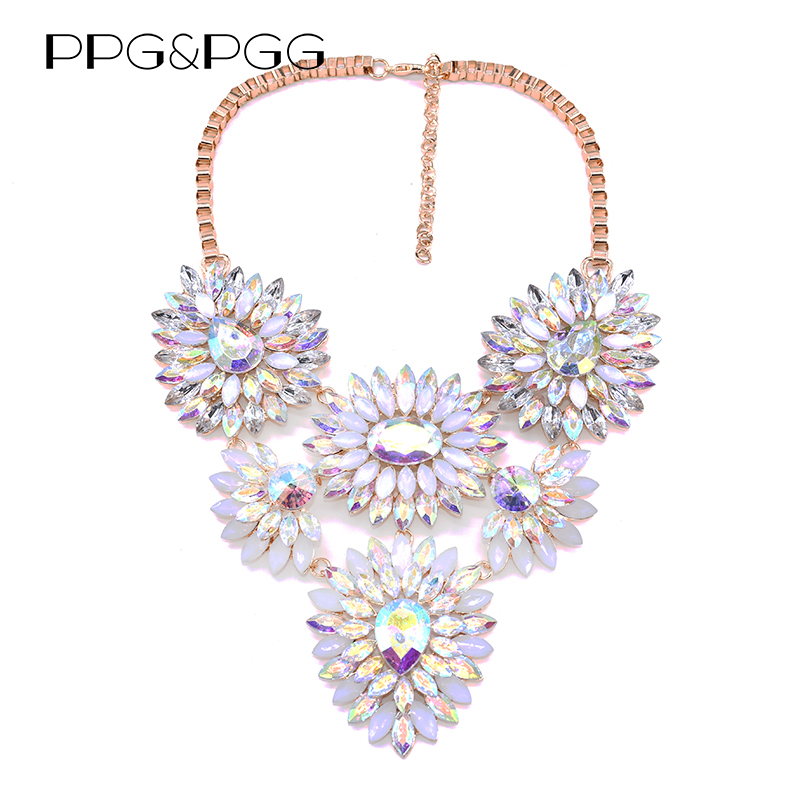 PPG&PGG 2017 V Shaped Rhinestone Crystal Water Drop Statement Necklace Women Choker Collar Custom Jewelry mycolen mens loafers genuine leather italian luxury crocodile pattern autumn shoes men slip on casual business shoes for male