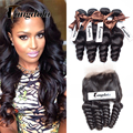 Hot 7a Malaysian Loose Wave Virgin Hair Cheap Lace Frontal Closure With Bundles Loose Wave Lace Frontal 4 Bundles With Baby Hair