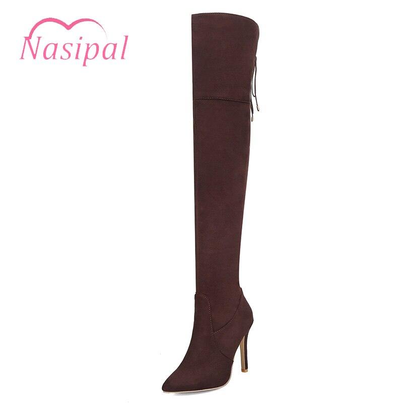 Naspal Fashion Lace Up Thigh High Long Boots High Heels Zipper font b Botas b font