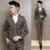 Atacado mais recente calça casaco designs2016fashion 3-piece britânico dos homens de ternos vestidos de casamento do noivo slimfit casualPlaid smoking para homens