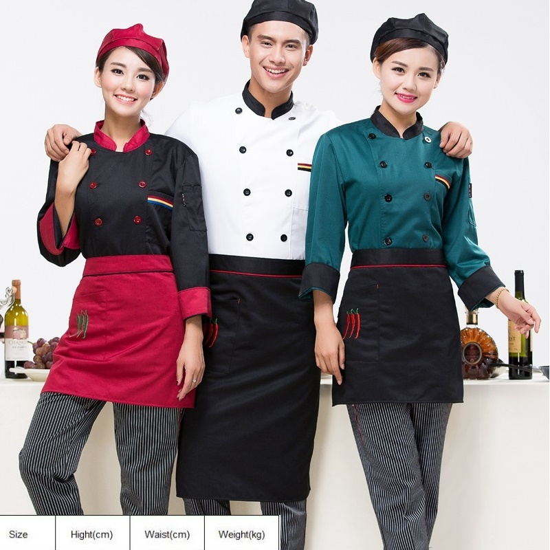 (10set Coat-apron-Hat)The Hotel Restaurant Kitchen Chef Wear White Overalls Baked Pastry Kitchen And Short Sleeved Cooker Wear