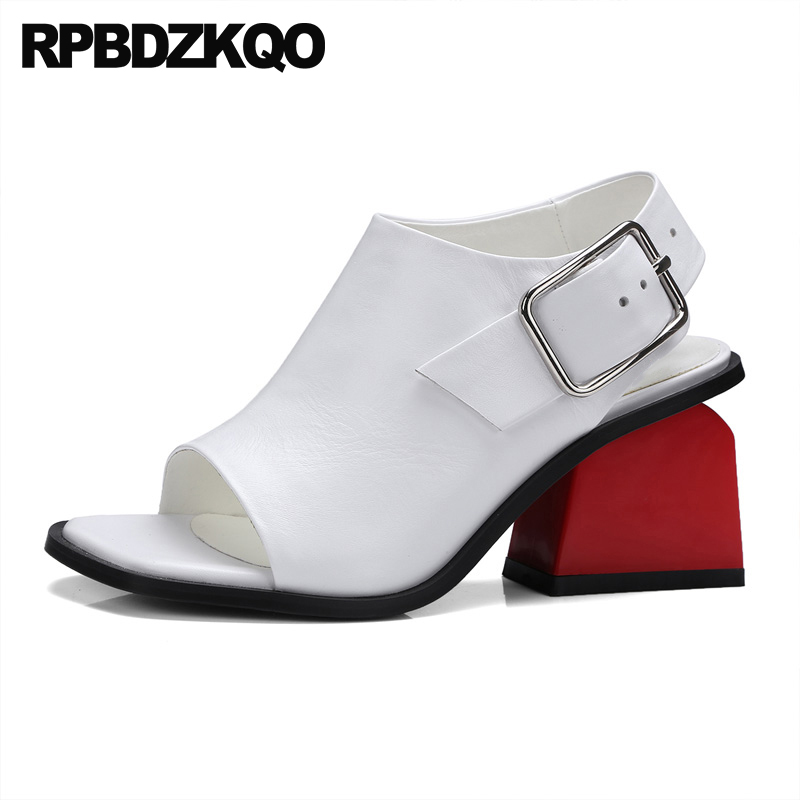 baf99bc696adfb Luxury High Plus Booties Toe Sandals Shoes Large Genuine Peep Heels Women  Thick White Leather Pumps ...