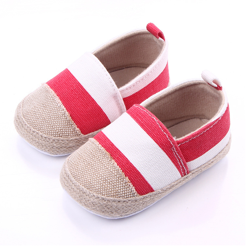 Toddler baby girl boy shoes canvas striped infant shoes 0-12M soft sole anti-skid designer newborn shoes baby moccasins F29 ...