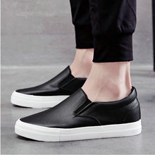 High quality Men fashion breathable Sneakers men leather Flat shoes casual slip on Loafers Driving Shoes Black white flats HH-69