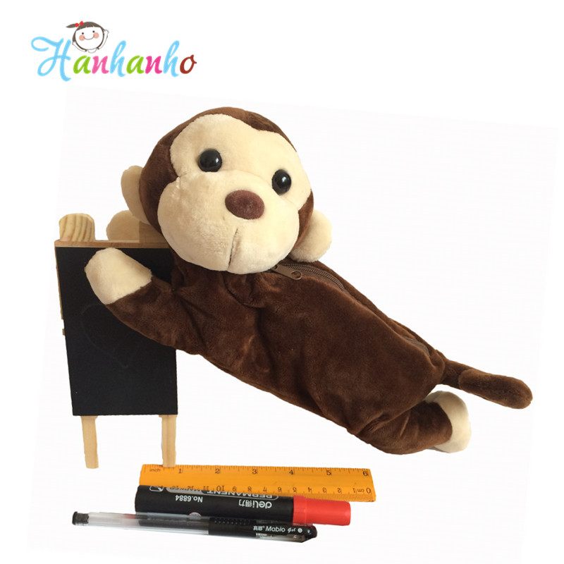 Lovely Plush Toy Monkey Pencil Case Pen Bag Gift For Children perfect pencil case pencil bag feather sleeve pencil case for 72 pen color blue