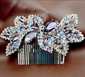 red/purple bridal jewelry vintage bride hair accessories wedding Floral Hair Comb Head Pieces hair jewelry Clear Crystal TS053