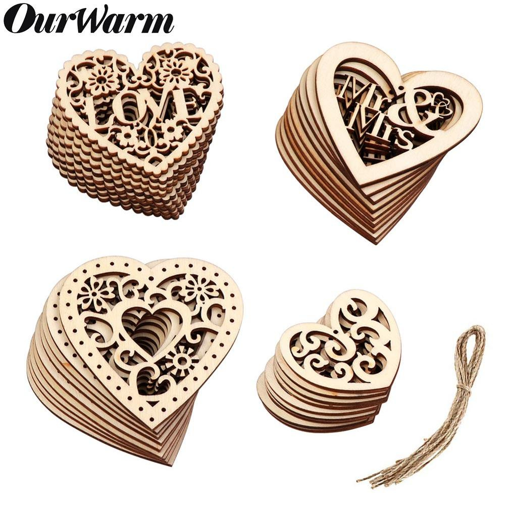OurWarm 10Pcs Love Heart Wooden Scrapbooking Weddings Embellishment DIY Crafts Hanging Ornament Marriage Wedding Decoration