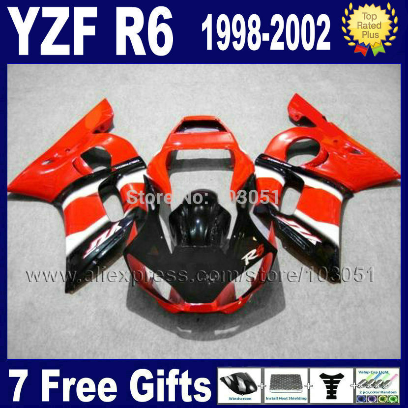 7gifts ABS plastic fairing for YAMAHA YZFR6 1998 1999 2000 2001 2002 YZF600 02 00 99 98 red black YZF R6  fairings body repair