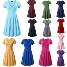 2019 Spring And Summer Hot Europe America Large Size Solid Color V-neck Short-sleeved Comfortable Simple Loose Dress