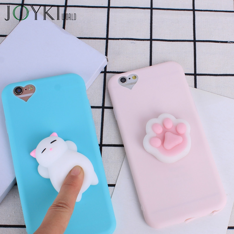 Lovely 3D Cat Paws Phone Case For iPhone 7 Plus Soft TPU Silicon Squishy Toys Case For iPhone 6 6S 5 5s SE Candy Cartoon Cover