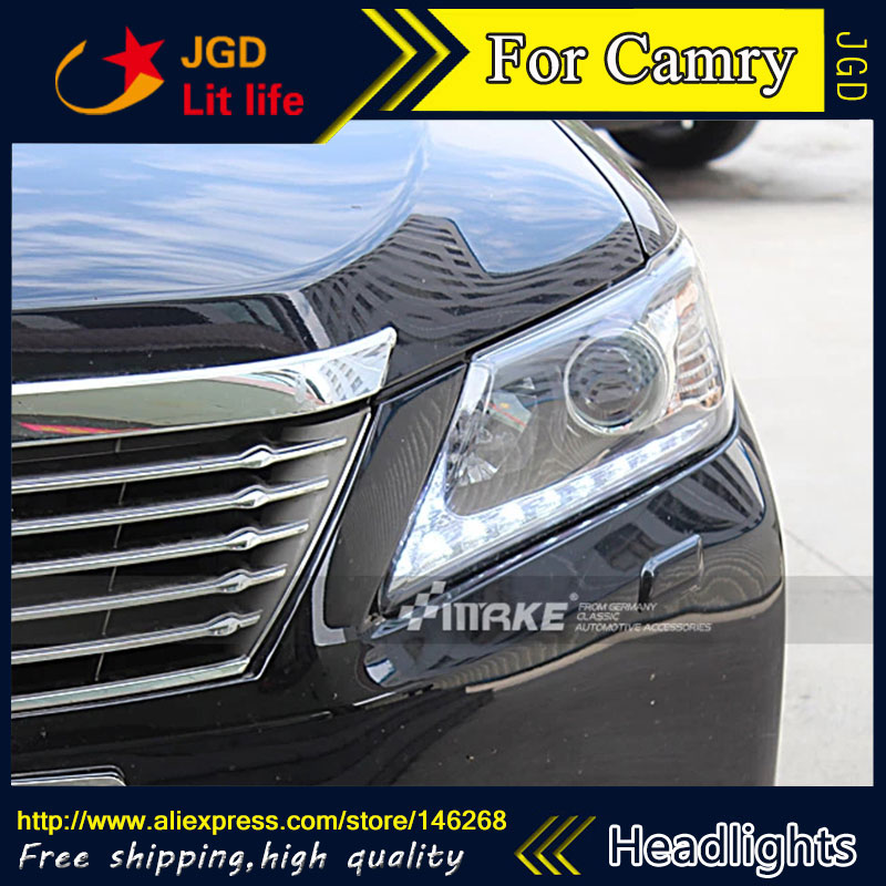 Free shipping ! Car styling LED HID Rio LED headlights Head Lamp case for Toyota Camry 2012 Bi-Xenon Lens low beam  free shipping car styling led hid rio led headlights head lamp case for chevrolet camaro bi xenon lens low beam
