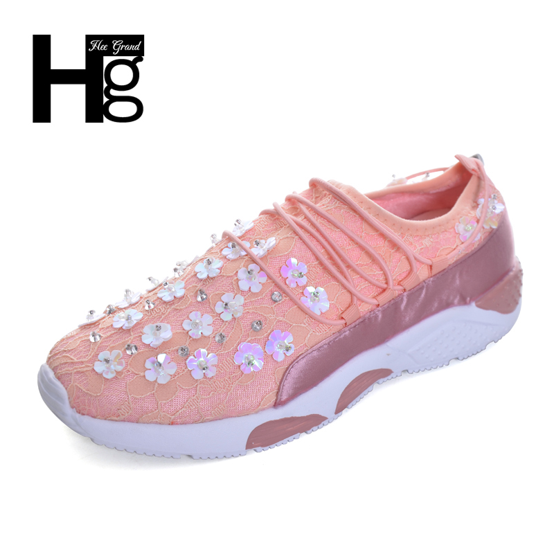 HEE GRAND Women Crystal Flat Shoes Platform Casual Shoes Lace up Autumn 2 Color Girls Shoes Woman Sneakers XWC1222 hee grand soft transparent jelly women sandals flat with crystal colorful rhinestones butterfly knot beach shoes xwz3446